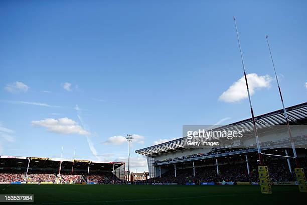 A general view of the ground looks on during the Aviva Premiership match between Gloucester and Bath at Kingsholm Stadium on October 6 2012 in...