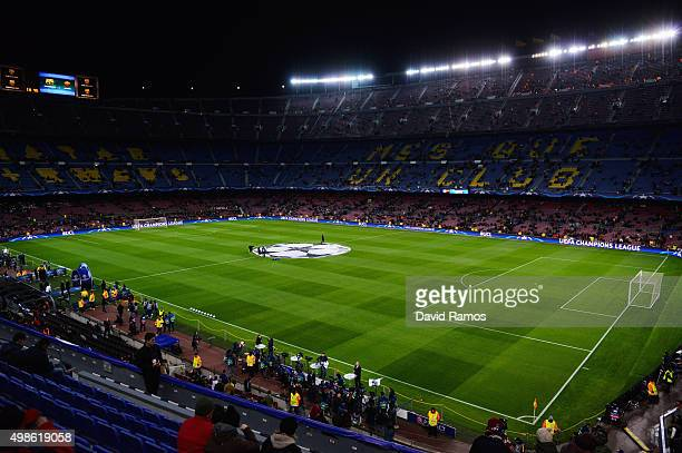 A general view of the ground prior to kickoff during the UEFA Champions League Group E match between FC Barcelona and AS Roma at Camp Nou on November...