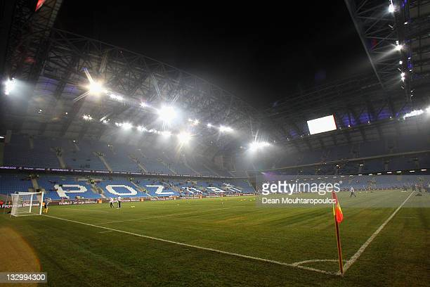 A general view of the ground prior to the International Friendly match between Poland and Hungary at the Miejski Stadium on November 15 2011 in...