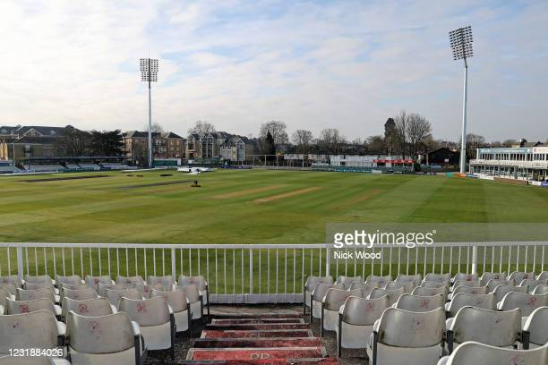 General view of the ground prior to the pre-season warm up match between Essex and Lancashire at Cloudfm County Ground on March 23, 2021 in...