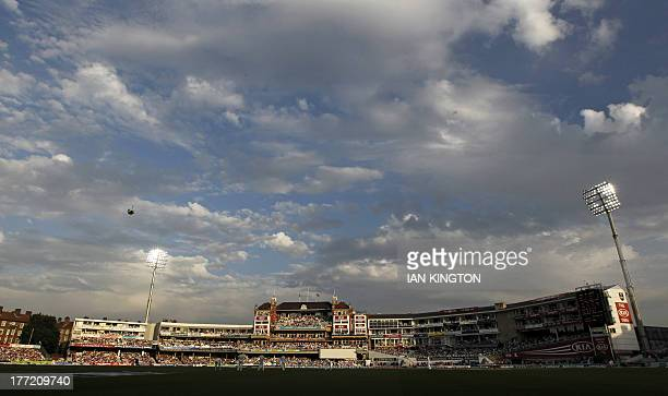 A general view of the ground with floodlights on in the early evening sunshine during play on the second day of the fifth Ashes cricket test match...