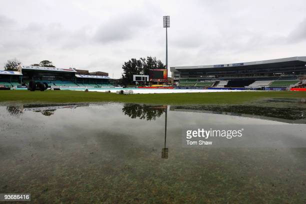 General view of the ground with large puddles in the outfield during the England nets session at Kingsmead Cricket Ground on December 3, 2009 in...