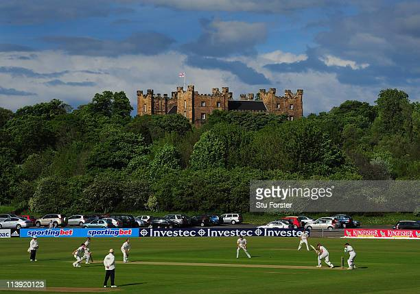 General view of the ground with Lumley Castle in the background during day one of the LV County Championship Division One match between Durham and...