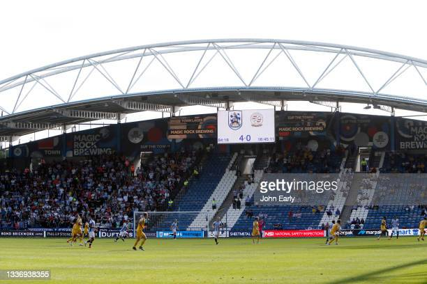 General view of the ground with the big screen showing the final score of 4-0 during the Sky Bet Championship match between Huddersfield Town and...