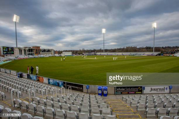 General view of the ground with the floodlights on during the MCC University match between Durham County Cricket Club and Durham MCCU at Emirates...