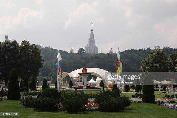 General view of the grounds outside Luzhniki Stadium ahead of the 14th IAAF World Championships at on August 6 2013 in Moscow Russia