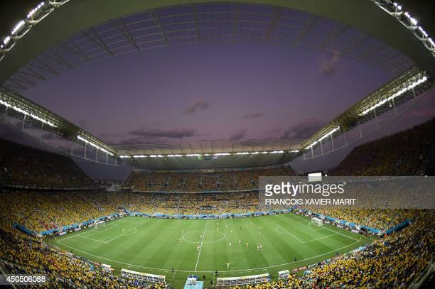 General view of the Group A football match between Brazil and Croatia at the Corinthians Arena in Sao Paulo on June 12 during the 2014 FIFA World...