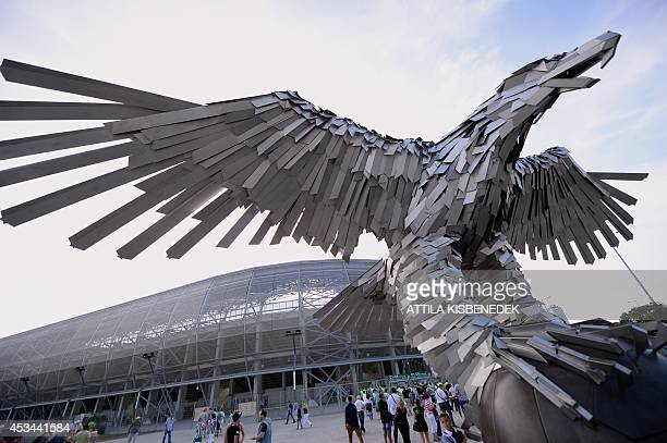 General view of the Groupama Arena new football stadium in Budapest is seen prior to the first international football match here between the local...