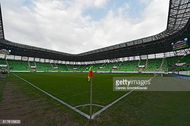 General view of the Groupama Arena prior to the International Friendly match between Hungary and Croatia at Groupama Arena on March 26, 2016 in...