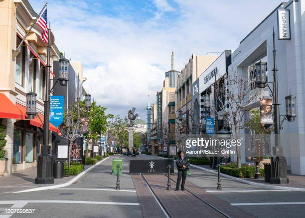 A general view of The Grove after Los Angeles ordered the closure of all nonessential services and entertainment venues earlier this week and hours...