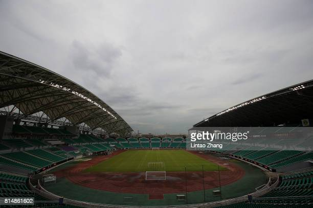 General view of the Guangzhou University Town Sports Centre Stadium ahead of the 2017 International Champions Cup football match between AC milan and...