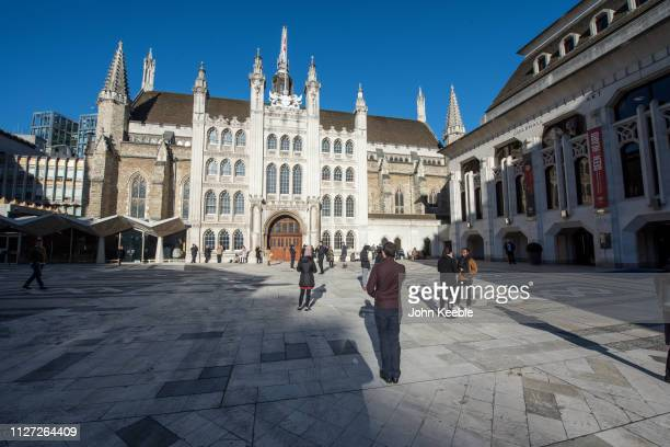 General view of the Guildhall in Guildhall Yard built between 1411 and 1440 and the Guildhall Art Gallery to the right on January 28, 2019 in London,...