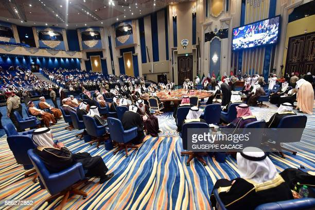 A general view of the Gulf Cooperation Council summit at Bayan palace in Kuwait City on December 5 2017 The Gulf Cooperation Council which launches...