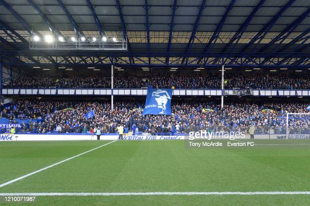 A general view of the Gwladys Street Stand and Everton fans at Goodison Park before the Premier League match between Everton FC and Manchester United...