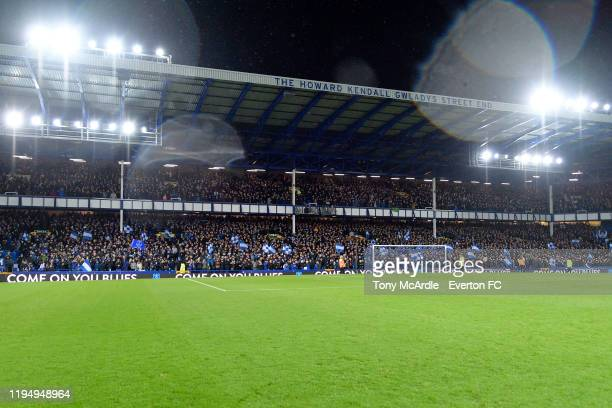 A general view of the Gwladys Street Stand at Goodison Park before the Carabao Cup Quarter Final match between Everton and Leicester City at Goodison...
