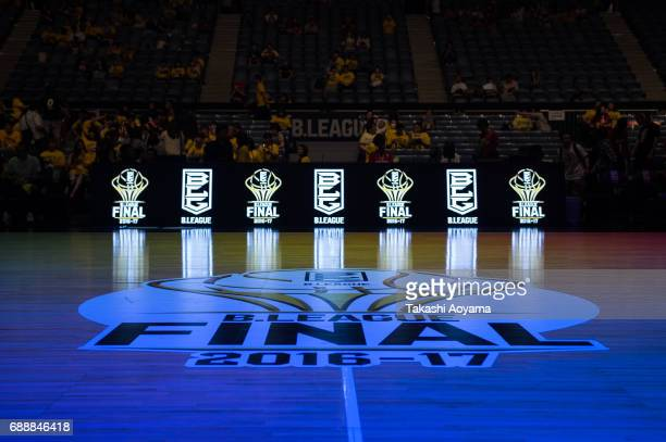A general view of the gymnasium prior to the B League final match between Kawasaki Brave Thunders and Tochigi Brex at Yoyogi National Gymnasium on...