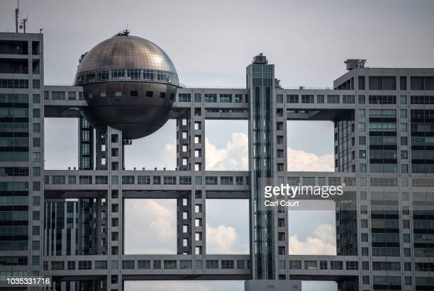 General view of the Hachitama spherical observation room in the Fuji Television building overlooking Odaiba Marine Park on September 18 2018 in Tokyo...