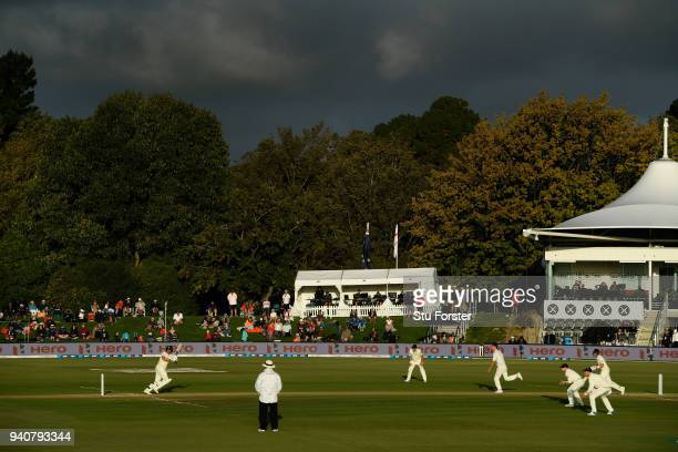 A general view of the Hagley Oval as Joe Root and Dawid Malan bat during day three of the Second Test Match between the New Zealand Black Caps and...