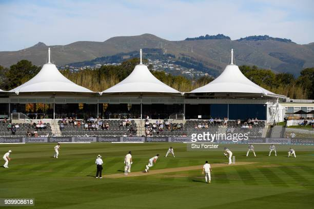 General view of the Hagley Oval during day one of the Second Test Match between the New Zealand Black Caps and England at Hagley Oval on March 30,...