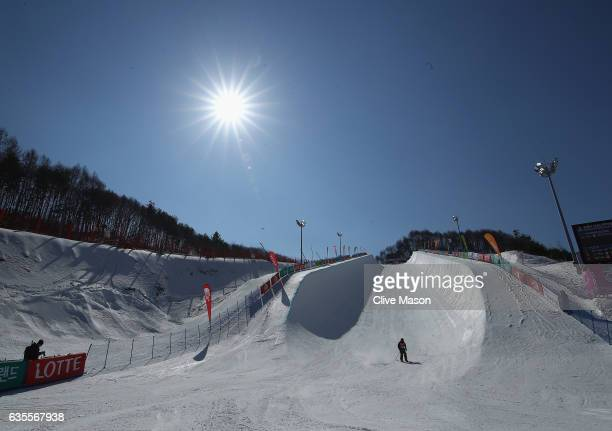 A general view of the halfpipe during the FIS Freestyle World Cup Ski Halfpipe Qualification at Bokwang Snow Park on February 16 2017 in...