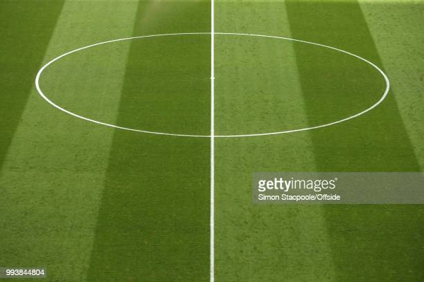 A general view of the halfway line and centre circle during the 2018 FIFA World Cup Russia Quarter Final match between Sweden and England at the...