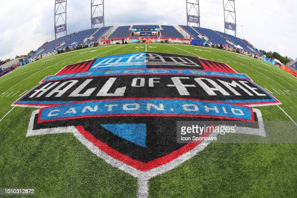 General view of the Hall of Fame Logo at midfield prior to the National Football League Hall of Fame Game between the Chicago Bears and the Baltimore...