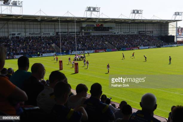 General view of the Halliwell Jones Stadium during the Ladbrokes Challenge Cup QuarterFinal match between Warrington Wolves and Wigan Warriors on...
