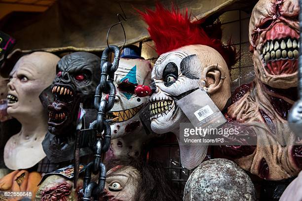 General view of the Halloween masks sold during the Day of the Dead on October 24 2016 in Mexico City Mexico