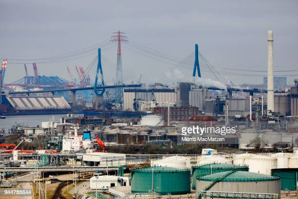General view of the Hamburg Port on April 11 2018 in Hamburg Germany Hamburg Port is Germany's biggest port and handles approximately 145 million...