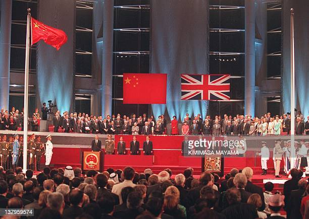 A general view of the handover ceremony 01 July showing the Chinese flag flying after the Union Jack was lowered AFP PHOTO/ POOL/Kimimasa MAYAMA