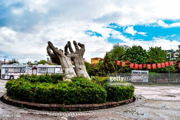General view of the Hands Sculpture in Sihhiye district in Ankara, Turkey.