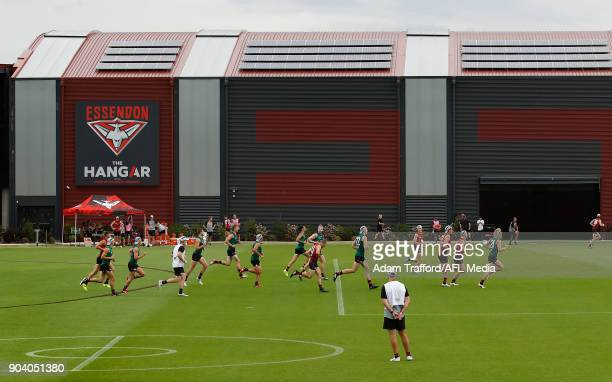 A general view of 'The Hangar' during the Essendon Bombers training session at The Hangar on January 12 2018 in Melbourne Australia
