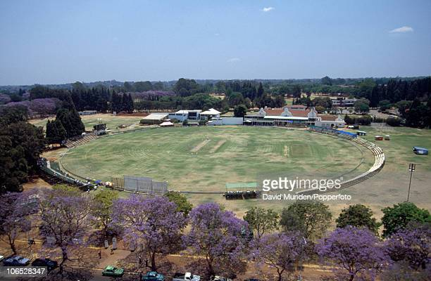 General view of the Harare Sports Club cricket ground during the inaugural Test match between Zimbabwe and India in Harare, 18th October 1992. The...