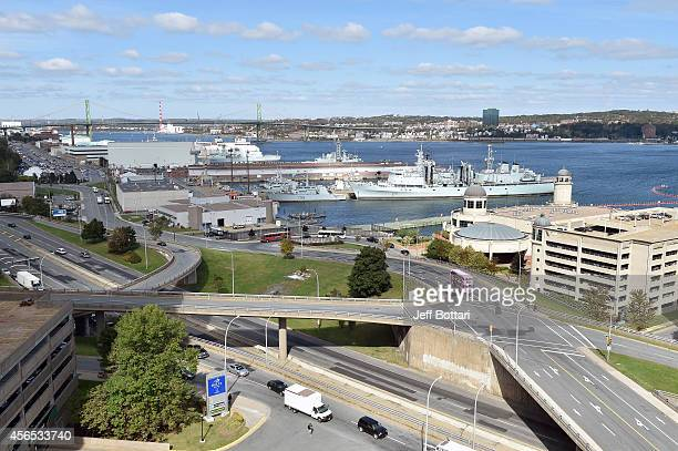 A general view of the harbor during the UFC Fight Night Ultimate Media Day on October 2 2014 in Halifax Nova Scotia Canada