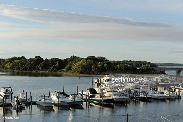 A general view of the harbor from the balcony at Harbors Edge on June 5 2015 in Sag Harbor New York