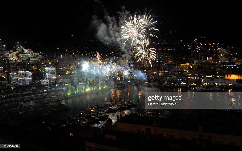 A general view of the harbour with fireworks and lighting show during the Jean Michel Jarre concert celebrating the wedding of Prince Albert II of Monaco to Charlene Wittstock at Port of Monaco on July 1, 2011 in Monaco. The civil ceremony took place in the Throne Room of the Prince's Palace of Monaco today, July 1, followed by a religious ceremony to be conducted in the main courtyard of the Palace on July 2. With her marriage to the head of state of Principality of Monaco, Charlene Wittstock will become Princess consort of Monaco and gain the title, Princess Charlene of Monaco. Celebrations including concerts and firework displays are being held across several days, attended by a guest list of global celebrities and heads of state.