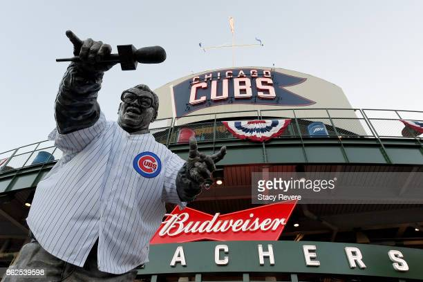 A general view of the Harry Caray statue before game three of the National League Championship Series between the Los Angeles Dodgers and the Chicago...