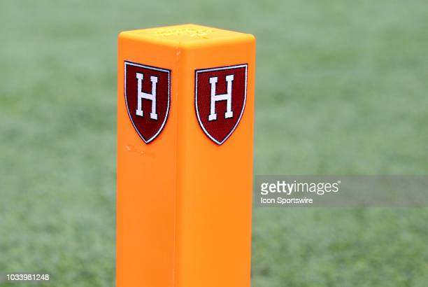 General view of the Harvard Crimson logo on the pylon prior to the college football game between San Diego Toreros and Harvard Crimson on September...