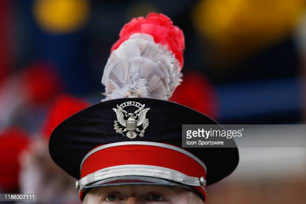 A general view of the hat and plume of an Ohio State marching band member is seen during a regular season Big 10 Conference game between the Ohio...