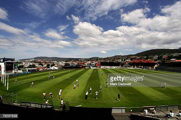 A general view of the Hawthorn Hawks in training at the North Hobart Oval during the clubs AFL Community Camp on February 7 2007 in Hobart Australia