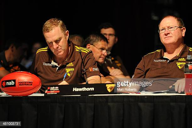 A general view of the Hawthorn table during the 2013 NAB AFL Draft on November 21 2013 on the Gold Coast Australia