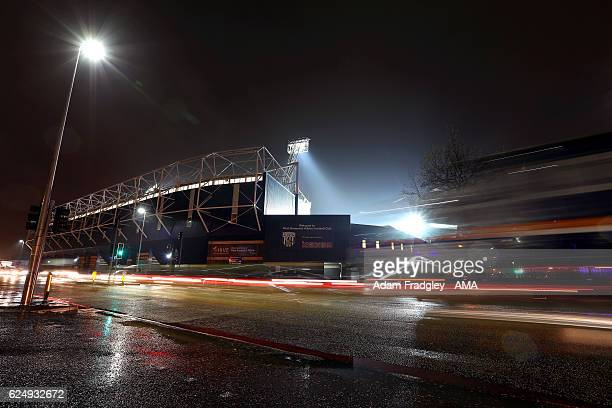 A general view of the Hawthorns the home stadium of West Bromwich Albion at night in the rain with the trails of car lights driving past prior to the...