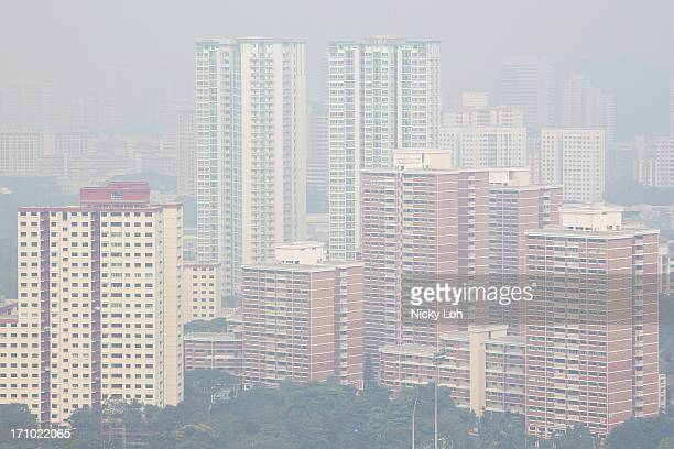 A general view of the haze shrouded Queenstown residential district on June 21 2013 in Singapore The Pollutant Standards Index rose to the highest...