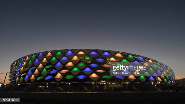 General view of the Hazza Bin Zayed Stadium ahead of the match for fifth place between Wydad Casablanca and Urawa Reds and the semifinal between...