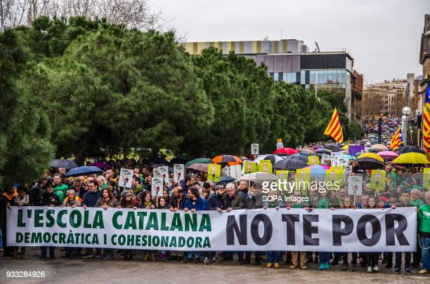 General view of the head of the demonstration Thousand of protesters took to the street of Barcelona in a demonstration titled 'The democratic and...