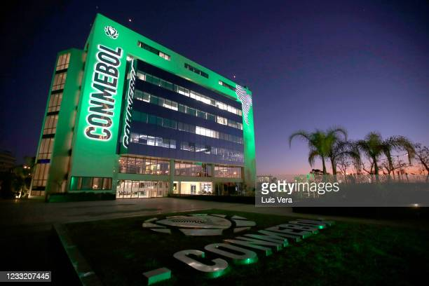 General view of the headquarters of CONMEBOL on May 31, 2021 in Asuncion, Paraguay. The South American football organization announced that Brazil...