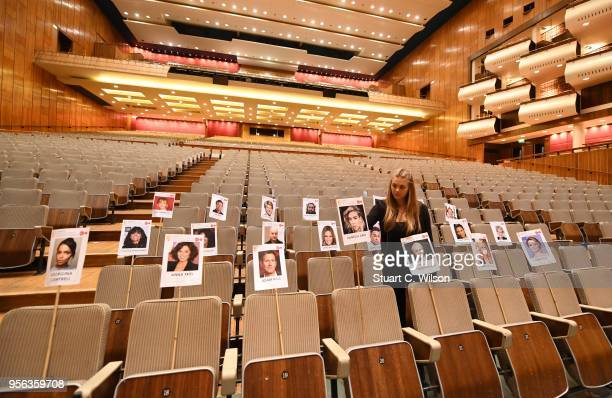 General view of the heads on sticks photocall ahead of the Virgin TV BAFTA TV Awards this weekend at The Royal Festival Hall on May 9 2018 in London...