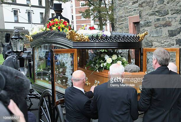 General view of the hearse at the funeral of Norman Wisdom at St George's Church on October 22 2010 in Douglas Isle Of Man