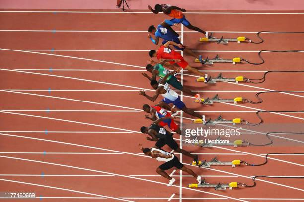 General view of the Heat 1 start during the Men's 100 metres heats on day one of 17th IAAF World Athletics Championships Doha 2019 at Khalifa...