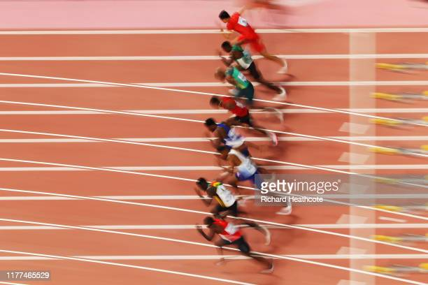 A general view of the Heat 3 start during the Men's 100 metres heats on day one of 17th IAAF World Athletics Championships Doha 2019 at Khalifa...